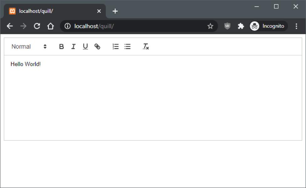 Default View WYSIWYG Editor Quill