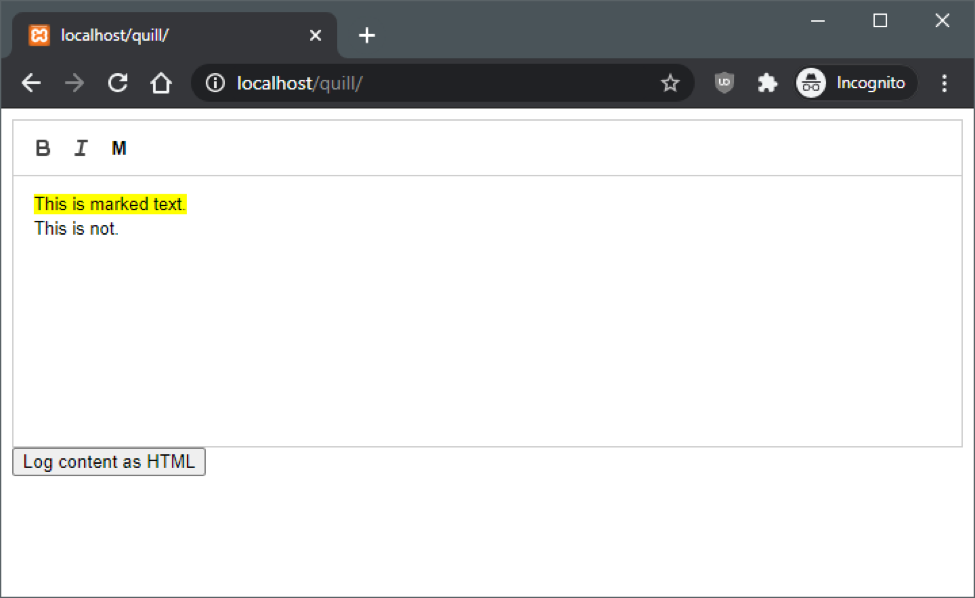 Functional Mark Button WYSIWYG Editor Quill